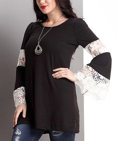 Another great find on #zulily! Black Lace Bell-Sleeve Tunic - Plus #zulilyfinds