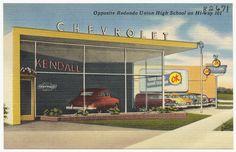 Lee Kendall Chevrolet, Opposite Redondo Union High School on Hi-way 101 Redondo Beach Pier, Redondo Beach California, Vintage Postcards, Vintage Photos, Used Car Lots, Boston Public Library, Historical Society, Back In The Day, Historical Photos