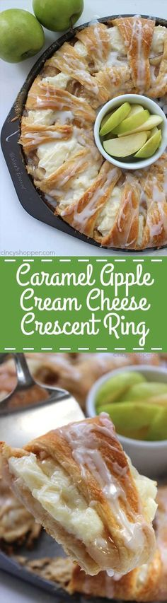 This Caramel Apple Cream Cheese Crescent Ring is super simple and makes for a great breakfast or dessert for fall. You will find it loaded with apples, cinnamon, cream cheese, caramel, and a sweet drizzle. Köstliche Desserts, Delicious Desserts, Yummy Food, Tasty, Desserts With Apples, Desserts Caramel, Caramel Treats, Health Desserts, Plated Desserts