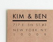 Return Address Stamp, Custom Rubber Stamp (Wood Mounted) Ultra Minimal Modern Design, Personalized with optional wooden handle Wedding Rubber Stamps, Custom Rubber Stamps, Queens Nyc, Country Living Magazine, Wedding List, Address Stamp, Return Address, Wedding Supplies, Wooden Handles