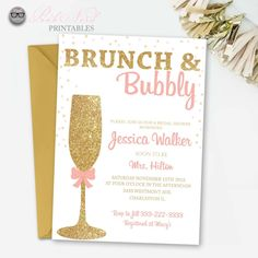 glitter bridal shower invitation brunch and bubbly gold glitter pink nerd printables