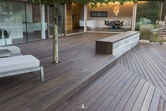 This private terrace is located near the Austrian city of Graz. The homeowner chose Kebony wood for the terrace to ensure that it would provide long-term use and enjoyment, a guarantee made by many decking products that doesn't always hold true. Residential Building Design, Wooden Terrace, Decking Material, Modern Pools, Deck With Pergola, Composite Decking, Building A Deck, Deck Design, Bauhaus