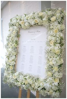 Lacey White Roses, Hydrangea and Gypsophila table plan floral wedding frames Flower Wall Wedding, White Roses Wedding, Wedding Scene, Wedding Frames, Floral Wedding, Rustic Wedding Signs, Wedding Welcome Signs, Gypsophila Wedding, Wedding Bouquets
