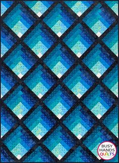 Waterfall is a multi-sized log cabin quilt pattern with unique setting triangles to finish the stunning design clear out to the edge. Hues of two colors create a gradating ombre colorwash that just draws you in with its beauty. The Waterfall quilt pattern includes specific instructions for fabric Layer Cake Quilt Patterns, Layer Cake Quilts, Patchwork Quilt Patterns, Modern Quilt Patterns, Quilt Patterns Free, Print Patterns, Patchwork Bags, Block Patterns, Sewing Patterns
