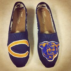 Chicago Bears hand painted TOMS. $95.00, via Etsy.