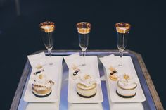 Dessert plates with champaign. Contemporary Downtown Toronto Wedding |