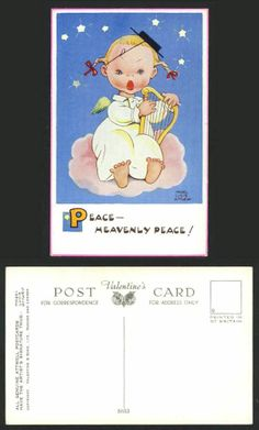 MABEL LUCIE ATTWELL Old Postcard Girl Angel Harp Stars Peace Heavenly Peace 5653