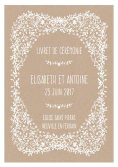 Modèle de livret de messe mariage à personnaliser et à imprimer chez soi - thème champêtre, vintage