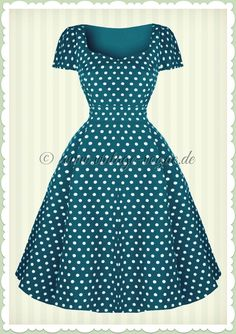 de0b8c958e88 Dolly   Dotty 50er Jahre Rockabilly Punkte Kleid - Claudia - Petrol Blau