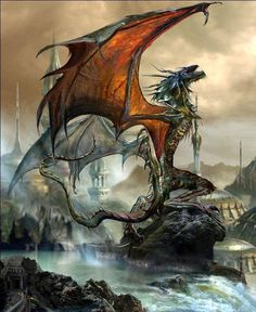 A beautiful dragon standing on a stone. A beautiful dragon standing on a stone. 3d Fantasy, Fantasy Dragon, Fantasy Kunst, Fantasy Artwork, Fantasy World, Magical Creatures, Fantasy Creatures, Dragon Dreaming, Dragon Artwork
