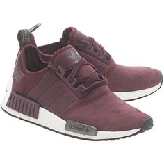 ADIDAS ORIGINALS NMD Runner W Bordeaux // Sneakers with leather insert (560 BRL) ❤ liked on Polyvore featuring shoes, adidas originals, bordeaux shoes, leather shoes, leather footwear and genuine leather shoes