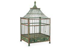 "fill with candles! 27"" Iron Market Birdcage, Emerald on OneKingsLane.com"