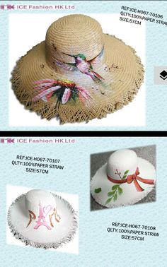 Straw hats spray painted .  #springsummer@1