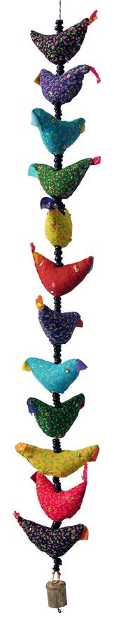 String of Fabric Birds with beads from India  Could be anything, or everything! Scrap fabric cows, planes, dolls, etc.