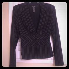Great lightly suit! Perfect for spring.  Great lightweight suit! Jacket in EUC condition. Pants is an extra gift with the purchase of the jacket!!Black and white pinstripes; and fitted. A great addition to any wardrobe. Super cute over jeans!  Rampage Jackets & Coats Blazers