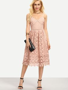 Shop Hollow Out Fit & Flare Lace Cami Dress online. SheIn offers Hollow Out Fit & Flare Lace Cami Dress & more to fit your fashionable needs.