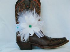 Bridal Boot Bling, Country Western Wedding Jewelry, Shabby Country Boot Bling, Teal and Lace Boot Bracelet, Country Western Bridal Bracelet by Louisefashionjewelry on Etsy