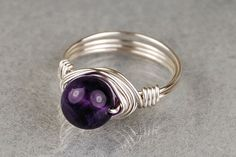 Sterling Silver Wire Wrapped Ring with Round Amethyst Gemstone- Custom Made to Size <3