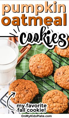 My favorite pumpkin oatmeal cookies are extra soft and chewy! These cookies are deliciously filled with cinnamon and pumpkin spice flavor, and are so tasty! Pumpkin Oatmeal Cookies, Pumpkin Chocolate Chips, Pumpkin Dessert, Pumpkin Pie Spice, Pumpkin Puree, Bake Sale Recipes, Kids Plates, Fall Cookies