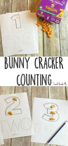Learn counting and number words with these printable bunny cracker counting pages. This is a great Spring learning activity for kids! #organicforeverybunny #ad