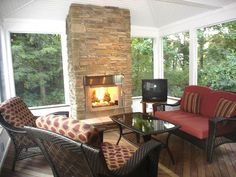 screened porch with fireplace - Google Search