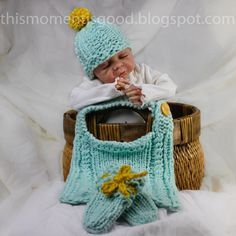 Loom Knit Mock Cable Bib Set Pattern:  Includes Newborn Hat, Bib (one size) and mitts Patterns.