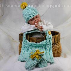 Loom Knit Mock Cable Bib Set Pattern:  Includes Newborn Hat, Bib (one size) and mitts Patterns. loom pattern, bib set, set pattern, etsi shop, babi bibbi, bibs, knit loom, knit pattern, loom knit
