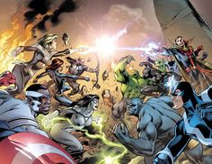 I'm back. Sorry for the absence. Normal service to return. This is the combined cover for Avengers (vol. 5) #39 and New Avengers (vol. 3) #28, drawn by Alan Davis.