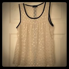 Adorable top! Sheer cream color with gold dots and black trim. Never worn! Monteau Tops