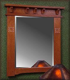 Craftsman style bathroom mirror wood finish to add warmth. Craftsman Style Furniture, Mission Style Furniture, Craftsman Decor, Craftsman Style Homes, Craftsman Bungalows, Craftsman Mirrors, Craftsman Frames, Craftsman Bathroom, Arts And Crafts Furniture