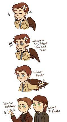 Sam, Dean, and Cas