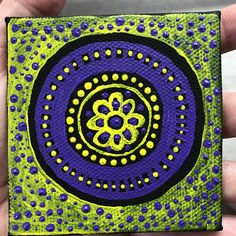 New #tinypainting - couldn't think of an idea so I just made this trippy #mandala! Mandalas are so relaxing for me to paint and I love their unpredictable nature. #art #queerartist #artistsofinstagram #canadianartist #novascotiaartist #artwitch #makemindfulart #acrylicpainting