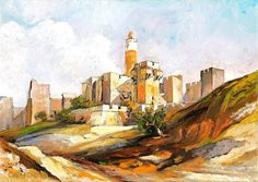 jerusalem watercolourprint on canvas 30x50 by judaicapaintings14, ₪250.00
