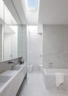 Inspirational Bathroom Design Ideas and Latest Interior Design Style Trends – Marble Bathroom Dreams Modern Marble Bathroom, Small White Bathrooms, Small Bathroom Colors, White Bathroom Tiles, Bathroom Tile Designs, Contemporary Bathrooms, Modern Bathroom Design, Bathroom Interior Design, Kitchen Interior