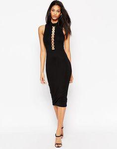 ASOS Deep Plunge Ring Trim Bodycon Dress at asos.com #bodycon #women #covetme