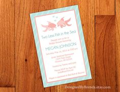 Large Bridal Shower Invite - Two Less Fish in the Sea – Designed By Brenda