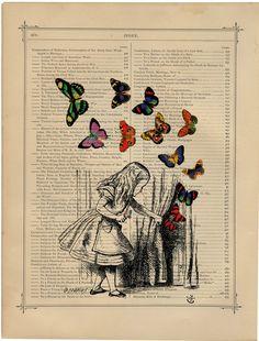 Alice in Wonderland Upcycled vintage image by PastTimePrints
