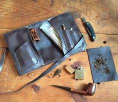 Bolsa de cuero para pipa, tabaco y accesorios | #Tobacco #pipes #smoke #leather