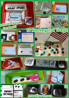 Learn with hockey! Check out 15 tot trays and my free hockey tot pack!
