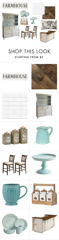 """My Farmhouse Kitchen"" by rochelle-largent ❤ liked on Polyvore featuring interior, interiors, interior design, home, home decor, interior decorating, Brewster Home Fashions, Lenox, 222 Fifth and DutchCrafters"