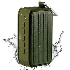 [Top Rated Waterproof Speaker] Ayfee Portable Bluetooth 4.0 Speaker Rugged IPX6 NFC Bluetooth Waterproof Speakers with 7W Powerful Drive/Passive Bass Radiator for Outdoors and Shower (Army Green)