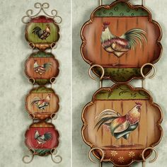 King of the Barnyard Plate Set Multi Jewel Set of Four    Love these colors!!