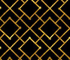 Osaka Bamboo Trellis / Ebony and Gold Leaf fabric by willowlanetextiles on Spoonflower - custom fabric