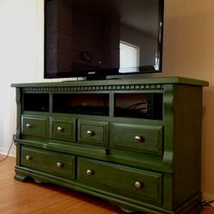 PHOTO ONLY - Craigslist find at $35.  Dresser turned media console for Kitty's house