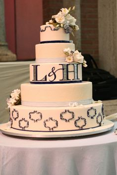 Like the initials on the center of the cake.