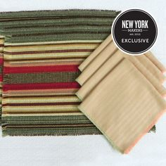 "Central NY-Woven Wool Placemat & Cotton Napkin Set in ""Holly Berry""/""Dimity Stripe"""