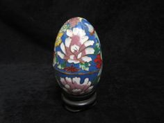 HAND PAINTED CLOISONNE ENAMEL 5 INCH EGG WITH STAND, HINGED, For more information visit www.CalAuctions.com