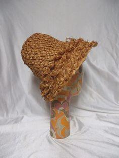 True Vintage Hat 50s Beach Sun Bucket Straw Mid Century Rockabilly Summer #unknown #Bucket #SummerBeach