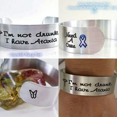 """New Engraved """"Fancy"""" font.  I'm not drunk,  I have Ataxia Medical Alert Symbol, Need A Cure with Blue Awareness Ribbon and engraved butterfly. Can be personalized."""