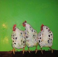 3 Chickens in Green